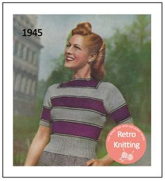 1940's Wartime Striped Sweater  Knitting Pattern  by MyVintageWish
