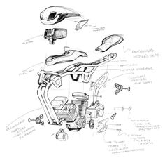 exploded view technical sketch that looks lime industrial design sketching
