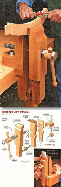 Bench Vise Plans - Workshop Solutions Projects, Tips and Tricks. Wooden Projects, Wood Crafts, Diy Projects, Woodworking Bench, Woodworking Projects, Bench Vise, Workbench Plans, Homemade Tools, Wood Tools