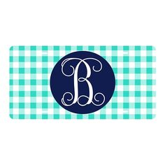 Mint Gingham Car Tag | underthecarolinamoon.com