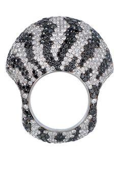 Zebra Crossing ~ Black and white diamond ring,  Jacob & Co.