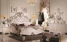 Luxury suite bedroom furniture of Europe type style including 1 bed 2 bedside table 1 chest a dresser and a <font><b>makeup</b></font> chair