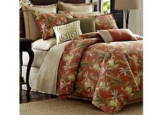 Tommy Bahama's Catalina bedding ensemble transforms your bedroom in to a relaxing tropical getaway.  A large scale palm leaf print is scattered over the tangerine ground