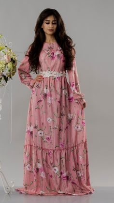 A quality floral dress, modest and trendy. Fabric: Soft Size: M, L Colour: Pink Round Collar, Floral, Fabric, Pink, Color, Dresses, Fashion, Tejido, Vestidos