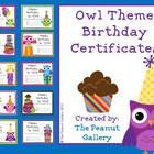 "$2.50 Your students will have an ""OWL-some"" birthday with these owl theme birthday certificates."