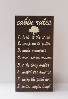 Cabin Rules, Cabin Decor, Mountain, Rustic, Woodsy, Outdoors, Wood Sign, Cabin, River, Cabin Rules Sign, Cabin Sign, You Pick Colors on Etsy, $55.00