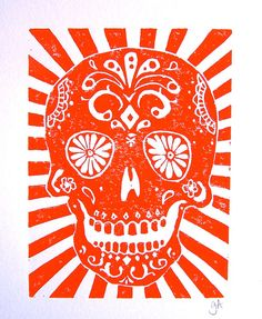 PRINT  Day of the dead skull ORANGE LINOCUT 8x10 by thebigharumph, $25.00