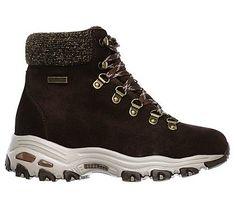 Skechers Women's D'lites Powder Waterproof Memory Foam Lace Up Boots (Chocolate)