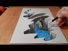 Illustration, Drawing a 3D Bridge, Trick Art - YouTube