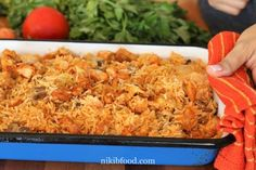 Baked chicken thigh and rice recipe - A perfect recipe for busy moms who want a meal that everyone will love on the table in an hour. Chicken Thigh And Rice Recipe, Chicken Thigh Recipes, Rice Recipes, Meat Recipes, Cooking Recipes, Recipies, Cooking Bread, Chicken Thighs, Kitchens