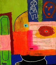 MESSAGE IN A BOTTLE Hoke Outsider RAW Folk Abstract Art Brut Painting nAIVE POP #OutsiderArt