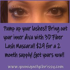 Get your 3d fiber lash mascara here www.youniquelychrissy.com