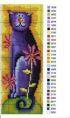 cat and flowers cross stitch Cross Stitching, Cross Stitch Embroidery, Embroidery Patterns, Cross Stitch Boards, Cross Stitch Bookmarks, Cross Stitch Designs, Cross Stitch Patterns, Cross Stitch Animals, Embroidery Techniques