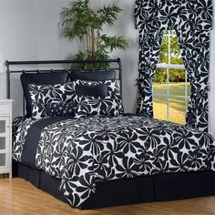 Twirl Black and White Floral Bedding by Victor Mill is made in the USA and is perfect for those who prefer a classic black and white pattern with modern floral designs.