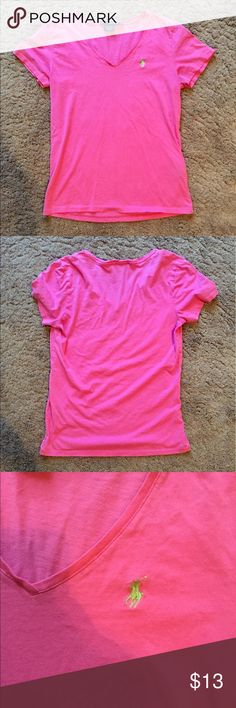 💕Pink with Green 🐎 Ralph Lauren Tshirt💕 Pink v-neck tshirt with lime green horse logo.  Worn, but still so much life left in it!! Ask all your questions please😋 -size medium but could definitely fit a small- Polo by Ralph Lauren Tops Tees - Short Sleeve