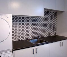 White laundry and mosaic tiled laundry splashback. Splashback Tiles, Mosaic Tiles, Feature Tiles, Powder Room, Laundry Room, Kitchen Remodel, Tile Floor, Flooring, Pavilion