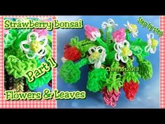 Diy loom bands strawberry bonsai part 1 flowers & leaves rainbow loom tutorial彩虹橡筋編織教學 - YouTube
