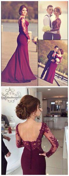 Mermaid Prom Dresses,Burgundy Formal Dress,Long Sleeves Evening…                                                                                                                                                                                 More