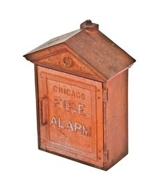 original vintage american industrial city of chicago timeworn red enameled cast iron fire alarm station or call box with functional hinged door