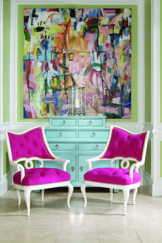 bold colors and chairs.