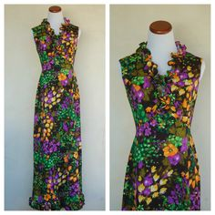 I love this color! Vintage 1970s Edith Flagg Long Flower Dress by