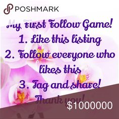 My First Follow Game! Please like, follow & share! Thank you so much to @lekohn and @shabbychic45 for your kind words and encouragement as I learn the Posh ways!!! ☺️ I will be forever grateful and thankful!!! 😍 Accessories