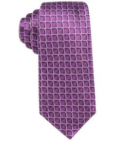 Alfani Men's Leonard Grid Slim Tie, Only at Macy's - Pink