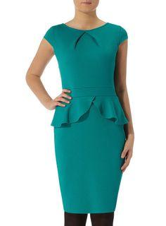 Green Waffle Peplum Dress