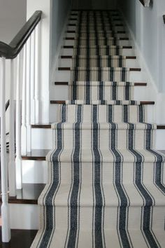 Striped Ticking carpeting stair runner
