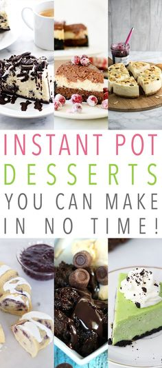Instant Pot Desserts You Can Make In No Time. Looking for a quick . easy yet FABULOUS DESSERT? Then check out these Instant Pot Dessert Recipes! There is a perfect variety and they are all done in a snap! Mini Desserts, Easy Desserts, Delicious Desserts, Dessert Recipes, Christmas Desserts, Tasty Meals, Dip Recipes, Healthy Desserts, Healthy Meals