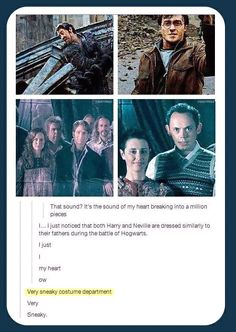 Like father, like son. Neville and Frank Longbottom & Harry and James Potter. Heroes.