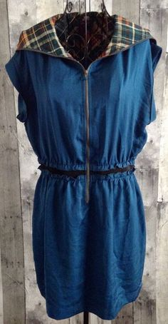 Lulumari Silk Blend Hooded Dress Tunic Top Teal Plaid Zip Front Cap Sleeve Large #Lulumari #TunicDress