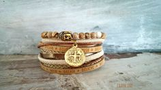 Wickelarmbänder - Wickelarmband Set 2-teilig braun antik gold Münze - ein Designerstück von charm_one bei DaWanda