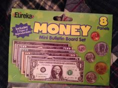 "Eureka: Mini Bulletin Board Set ""Money"" 8 Panels Full of Money & Has the Words: In God We Trust 