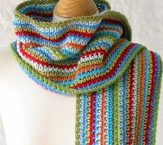 Probably the simplest pattern out there, but I love the combination of so many colors in long stripes!