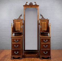 dressing table with full length cheval mirror drawers and cupboards