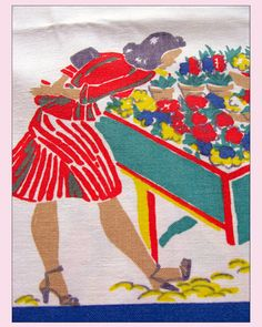 Startex Vintage Tablecloth PinUpGirl and Flower by ShiftingYears