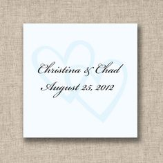 Two Hearts Wedding Favor Tags (available in other colors) | #exclusivelyweddings | #lightbluewedding
