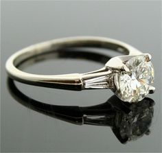 Vintage Engagement Ring 14k White Gold and by SITFineJewelry