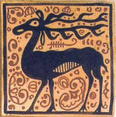 """Cerámica Artística Valencia – Azulejos y Gres - Azulejo Medieval """"Socarrat"""" - Azulejos socarrat - Ciervo"""