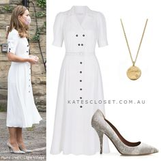 Visit the blog for details on Kate's outfit for visit to Baby Basics on 4 August 2020 Duchess Kate, Duchess Of Cambridge, Kate Middleton Outfits, Wiggle Dress, Princess Kate, Royal Fashion, Royal Style, My Style, White Dress