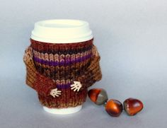 Coffee cozy. Cup sweater. Thanksgiving travel mug cozy. Knit mug hug. Cup sleeve. Office coffee. Mug sweater. Gift idea Starbucks cup holder by MugHugCozy on Etsy