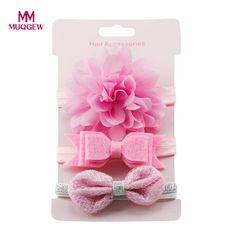 MUQGEW mädchen haarschmuck 3 Stücke Kinder Elastische Blumenstirnband Haar Mädchen baby Bowknot Elastische headwear Haarband Set