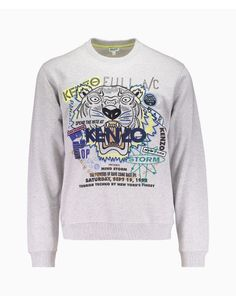 Kenzo - Embellished Flyer X Tiger Crew Neck Sweatshirt - Grey