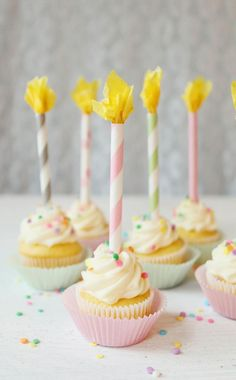 "Straw Candles Cupcake Topper@Roxy Falappino you can leave them ""lit"" until you eat."