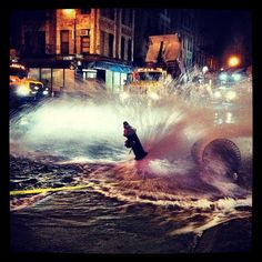 Some large truck hit the fire hydrant outside my building at 2am! I've never seen anything like this.