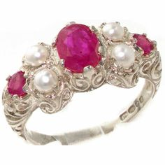 925 Sterling Silver Natural Ruby and Cultured Pearl Womens Cluster Ring - Sizes 4 to 12 Available