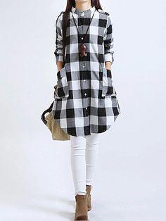 Women Tops Plus Size Women Clothing Plaid Blouse Long Sleeve Women Blouses Cotton Linen Women Shirts Casual Vintage tops Kurta Designs, Blouse Designs, Plaid Shirt Women, Casual Dresses, Stylish Dresses, Tunic Dresses, Sleeve Dresses, Mode Hijab, Indian Designer Wear