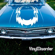 Hood Flames Wall Decal - Vinyl Decal - Car Decal - SM018