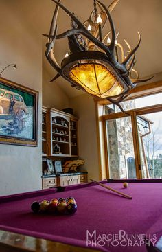 PEAKANTLERS.COM Naturally Shed Antler Chandelier over the pool table in mountain home. Woodland Park, Colorado. DESIGN IDEAS!